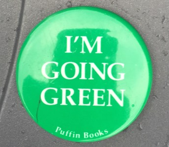 2.25 inches, round, metal w/pinback and clasp promotional button for puffin book campaign. green background white text. Curl text: None
