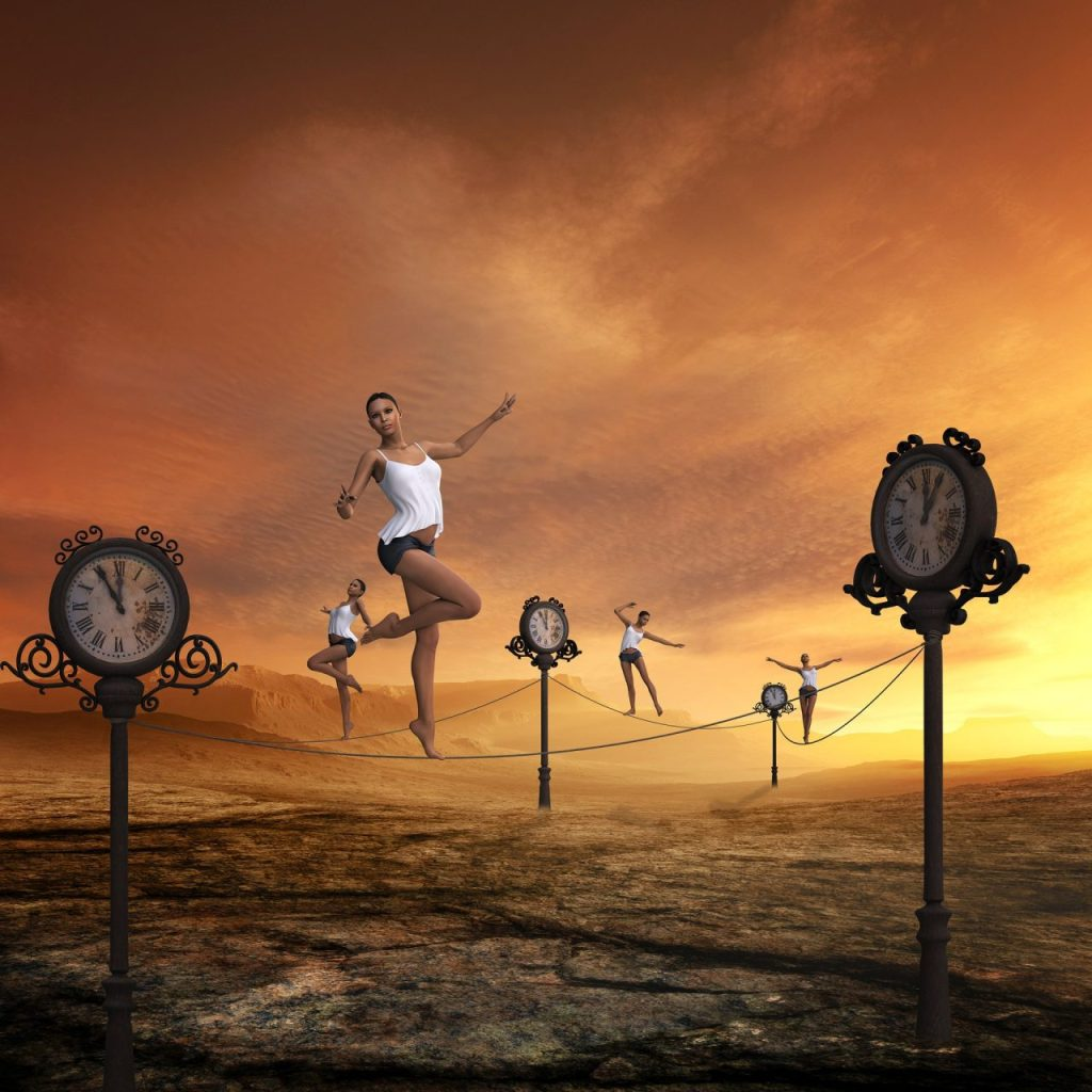 image of a woman walking a tight rope anchored by time