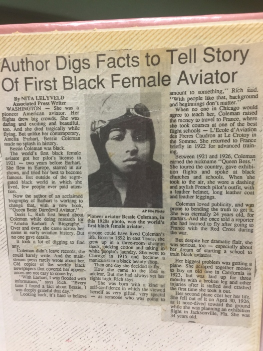 photo of a AP news article Author Digs Facts to Tell Story Of First Black Female Aviator by Nita Lelyveld dateline Washington Autho