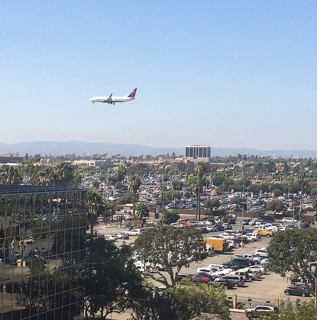 Aircraft flying over Los Angeles