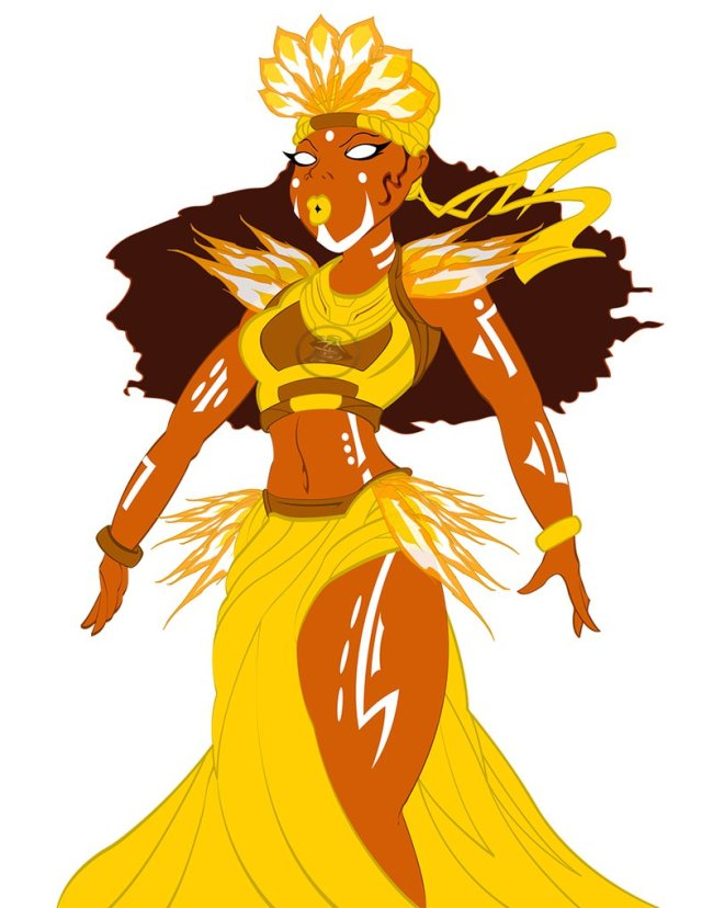 image of an illustration of Oshun, Yoruba Godess