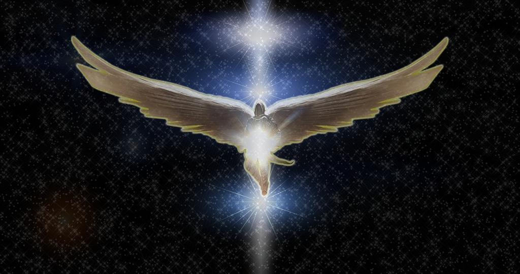 image of an angelic dove-like being inflight