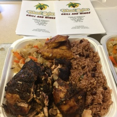 Jerk Chicken with Rice and Peas, Cabbage and Plantains