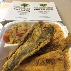 Fried Whiting, Yellow Rice & Spicy Cabbage