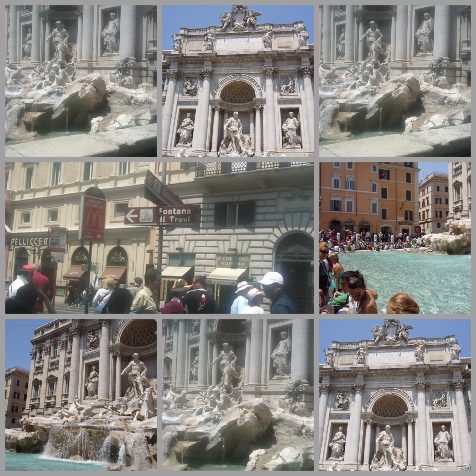original photos collage of trevi fountain in Rome, Italy