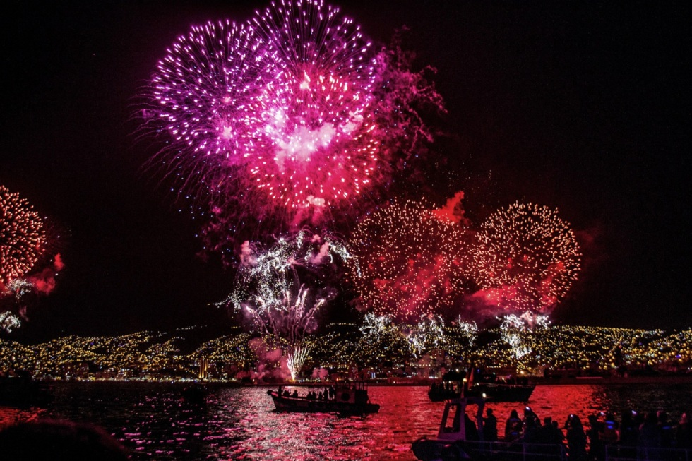 image of fireworks display on the water
