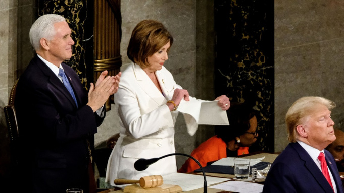 Speaker of the House Nancy Pelosi rips up the state of the union speech