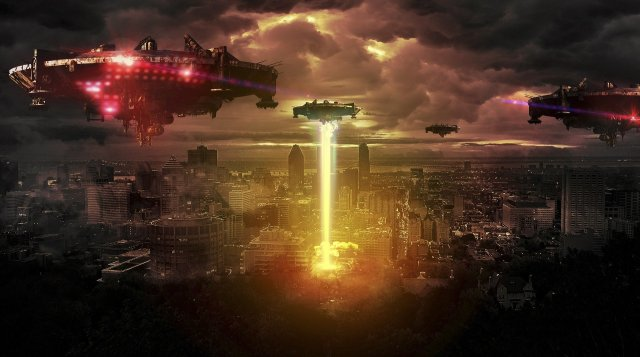 photo manipulation spaceships over a metropolis