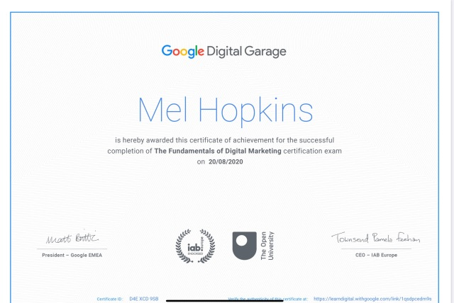 image of Google Digital Garage Certificate for The Fundamentals of Digital Marketing Course